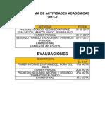Cronograma de Actividades Academicas 2017