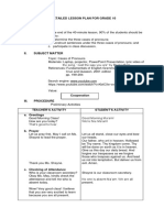 A Detailed Lesson Plan for Grade 10.4 Cases of Pronouns