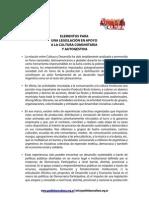 ELEMENTOS PARA UNA LEGISLACIÓN EN APOYO A LA CULTURA COMUNITARIA Y AUTOGESTIVA