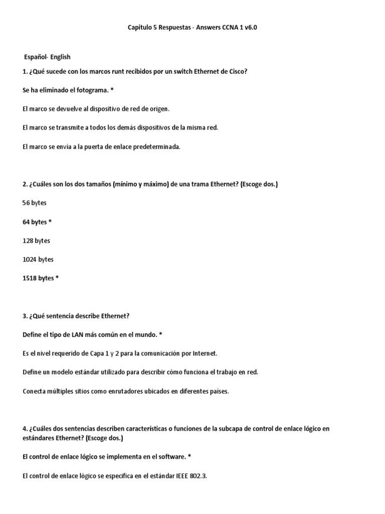 Capitulo 5 Respuestas - Answers CCNA 1 v6.0