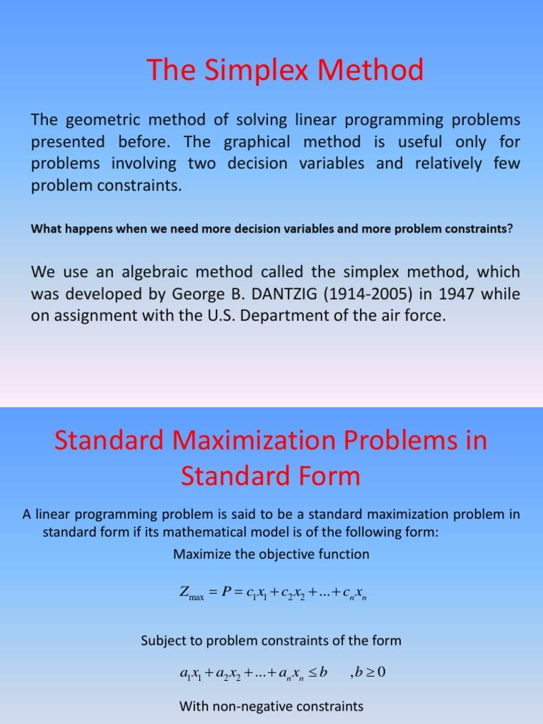 4-The Simplex Method | Linear Programming | Mathematical Optimization