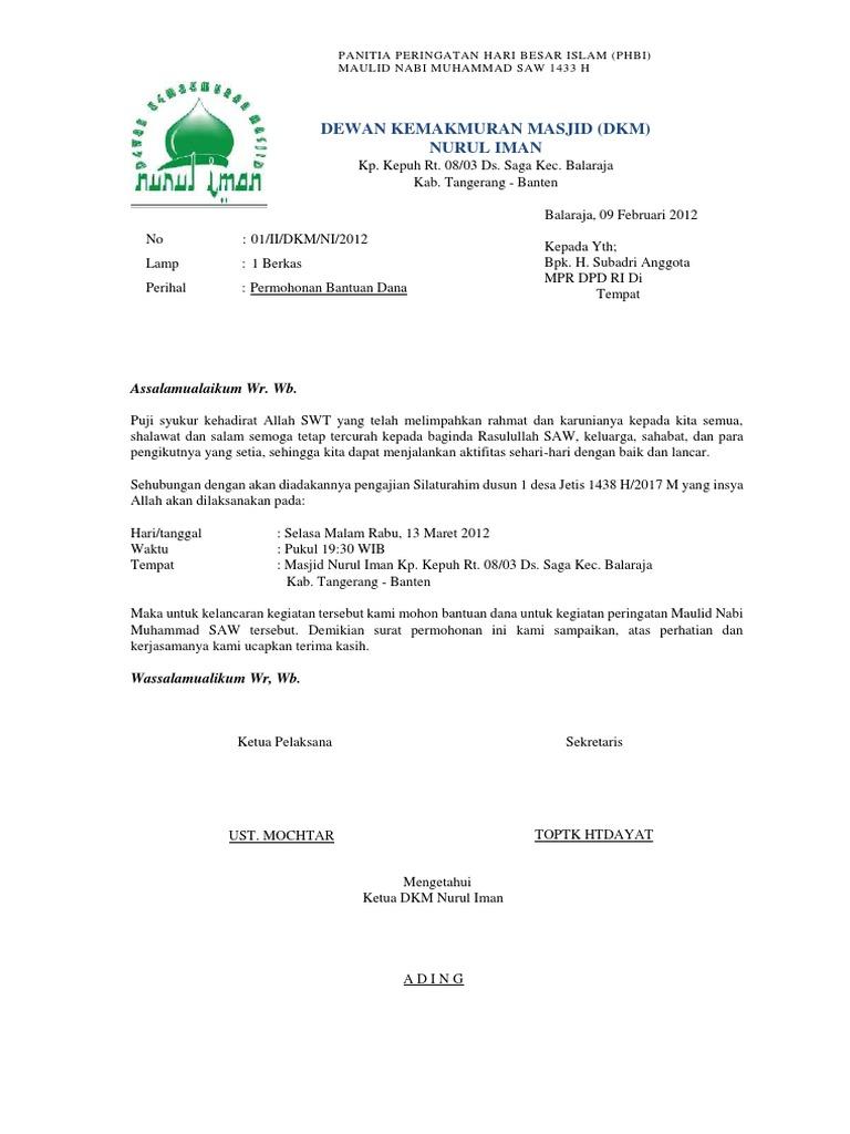 Contoh Surat Permohonan Bantuan Dana Maulid Nabi Kumpulan Surat Penting