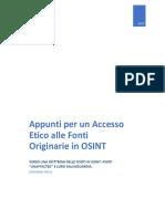 Appunti per un Accesso Etico alla Fonti Originarie in OSINT – Verso una dottrina delle fonti in OSINT