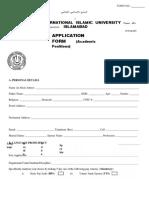 Application Form Academic