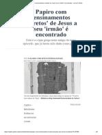 Papiro de Jesus a Seu 'Irmão' é Encontrado