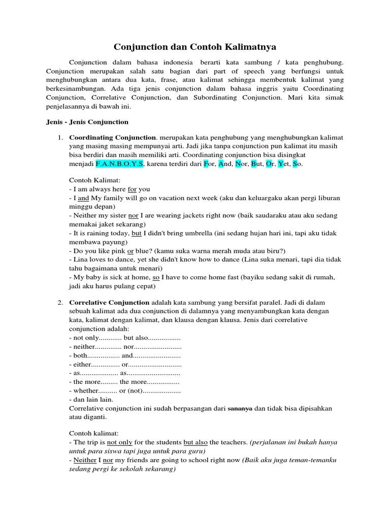 Contoh Kalimat Kata Penghubung - Mosaicone