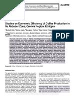 Studies on Economic Efficiency of Coffee Production in Ilu Abbabor Zone, Oromia Region, Ethiopia
