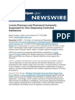 Livonia Pharmacy and Pharmacist Summarily Suspended for Over Dispensing Controlled Substances