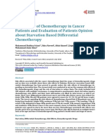 Side Effects of Chemotherapy in Cancer Patients and Evaluation of Patients Opinion about Starvation Based Differential Chemotherapy