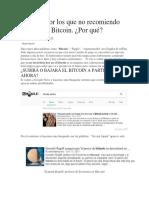 Motivos Por Los Que No Recomiendo Invertir en Bitcoin