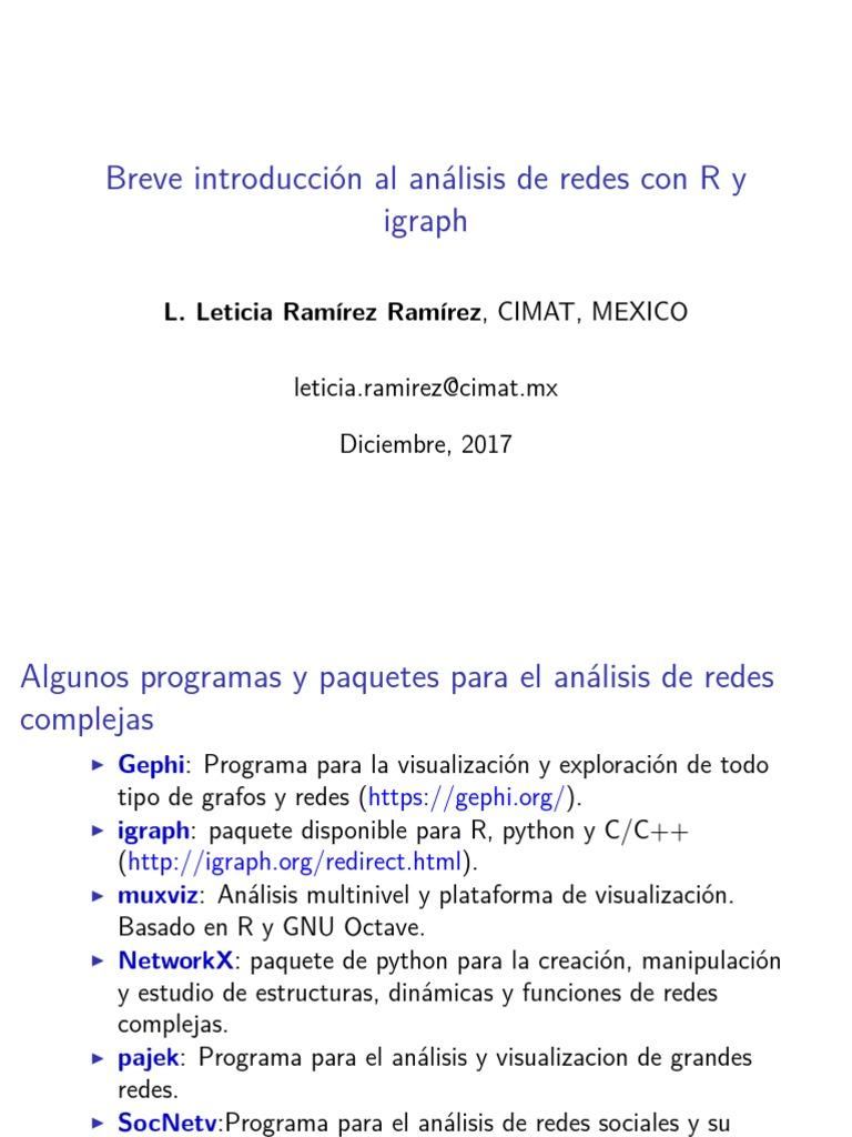 NetworksCon R Igraph | Python (Lenguaje de programación) | Contenido