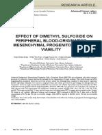 Imeri Effect of Dimethyl Sulfoxide on Peripheral Blood-Originating Mesenchymal Progenitor Cells Viability