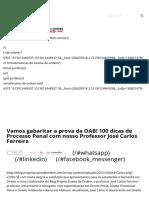 Vamos Gabaritar a Prova Da OAB! 100 Dicas de Processo Penal Com Nosso Professor José Carlos Ferreira - Blog Projeto Exame de Ordem