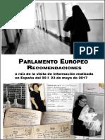 """Recomendaciones a España del Parlamento Europeo sobre """"bebés robados"""", tras la visita informativa realizada en mayo de 2017"""