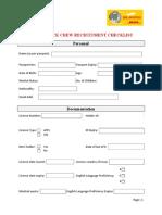 Crew Recruitment Checklist