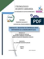Unidad IV Registro de Empresas Ante Dependencias Gubernamentales