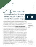 Hacia Un Modelo Integrado de Investigación y Gestión Del Patrimonio Histórico La Cadena Interpretativa Como Propuesta (PH16, 1996)