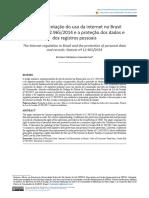 A regulamentação do uso da internet no Brasil pela Lei nº 12.965/2014 e a proteção dos dados e dos registros pessoais