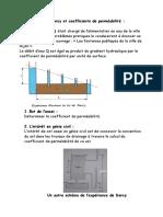 Loi de Darcy Et Coefficients de Perméabilité