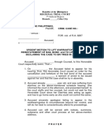 Motion to Lift Warrant of Arrest  (Blank Form)