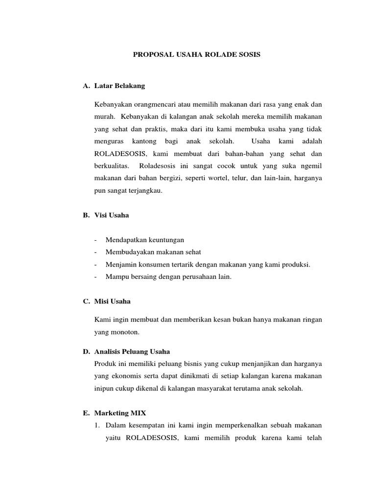Contoh Proposal Bisnis Plan Makanan Ringan Berbagi Contoh Proposal