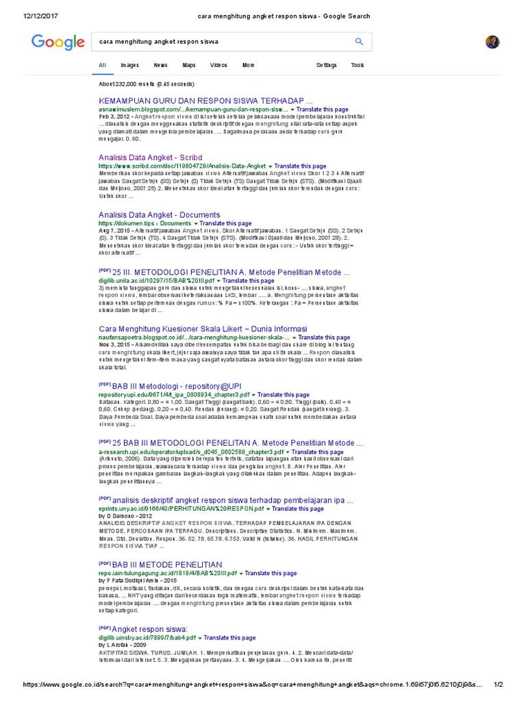 Cara menghitung angket respon siswa google search ccuart Images
