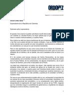 Carta Ordóñez a Uribe