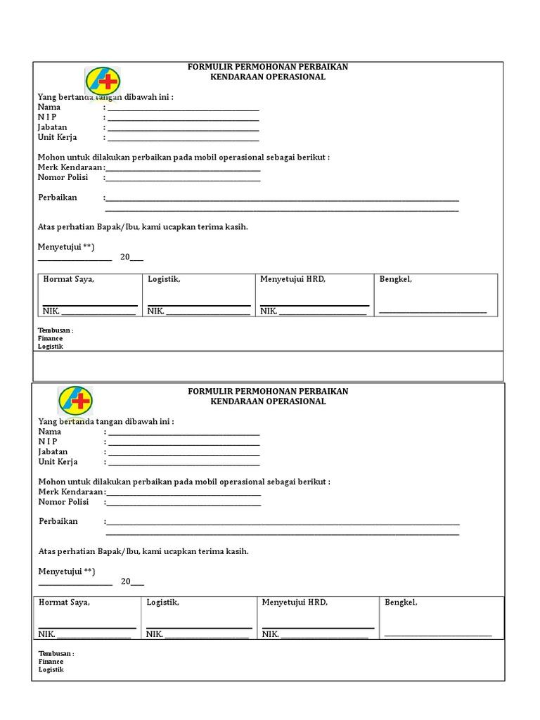 Form Perbaikan Kendaraan 2017