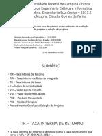 Engenharia Econômica - TIR e Seleção de Projetos