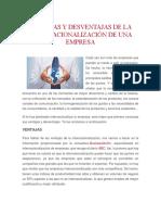 Ventajas y Desventajas de La Internacionalización de Una Empresa