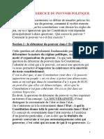 Chapitre 3- l'Exercice Du Pouvoir Politique.
