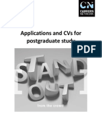 Applications and CVs for Postgraduate Study
