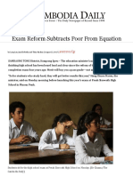 exam reform subtracts poor from equation - the cambodia daily