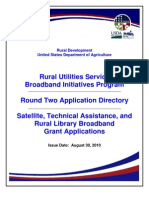 USDA-RUS Round 2 Directory - Satellite, Tech Assistance, Rural Library Issued 08-30-2010