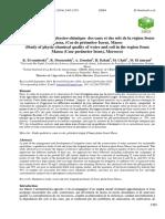 Étude de La Qualité Physico-chimique Des Eaux Et Des Sols de La Région Souss Massa