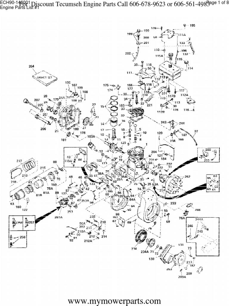 Tecumseh Engine Parts Manual ECH90 146001