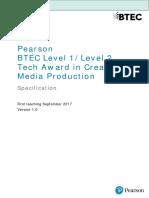 BTEC Level 1 2 Tech Award in Creative Media Production Spec