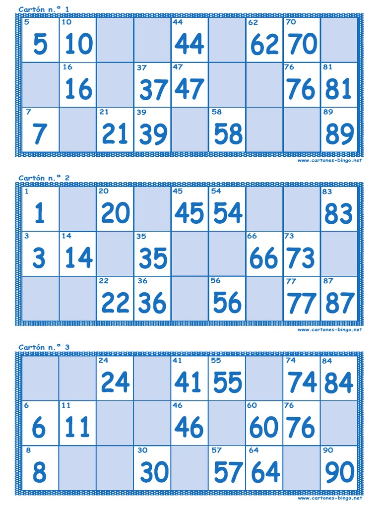 Cartones Bingo 90 Bolas Pdf