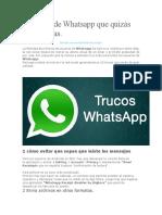 10 Trucos de Whatsapp Que Quizás No Conocías
