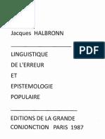 jacques  HALBRONN    Linguistique  de l'Erreur et Epistemologie Populaire