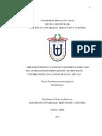 Libros Electrònicos y Nivel de Cumplimiento Tributario de Las Obligaciones Tributarias en Los Principales Contribuyentes, En La Ciudad de Tacna, Año 2016