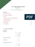 Physics GRE Equation Sheet