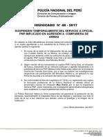COMUNICADO  PNP N° 48 - 2017