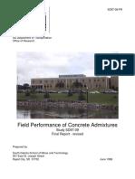 Field Performance of Concrete Admixtures