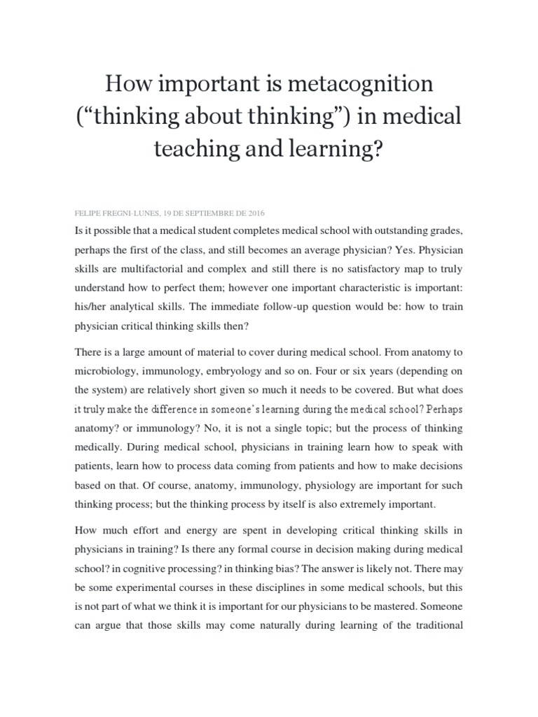 3. How Important is Metacognition | Metacognition | Medical School