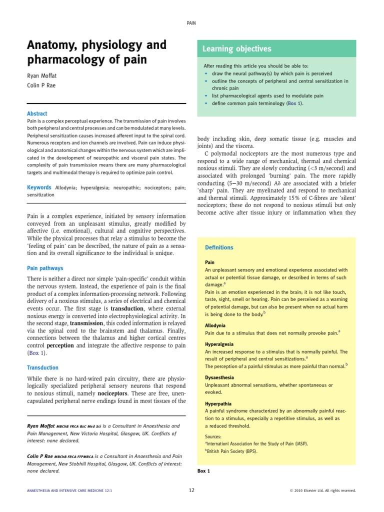 Anatomy, Physiology and Pharmacology of Pain | Stimulus (Physiology ...