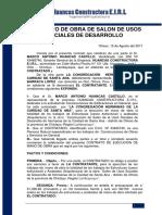 Contrato de Obra de Salon de Usos Sociales de Desarrollo