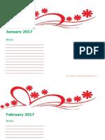 2017 Blank Calendar Kindergarten 08