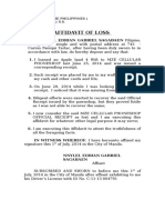 Affidavit of Loss (Bank)