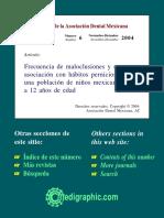 Montiel 2002 Frecuencia de Maloclusiones y Su Asociación Con Hábitos Perniciosos en Una Población de Niños Mexicanos de 6 a 12 Años de Edad